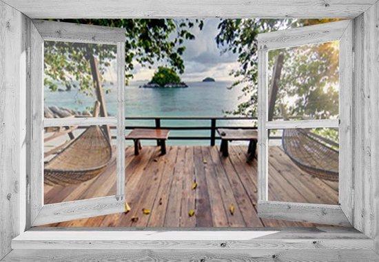 Poster doorkijk van een raam
